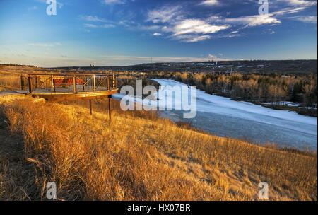 Bowmont Park Natural Recreation Area along Bow River in Calgary Alberta Canada at Foothills of Canadian Rocky Mountains - Stock Photo