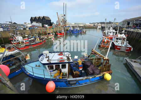 Fishing boats in Whistable Harbour, Kent - Stock Photo