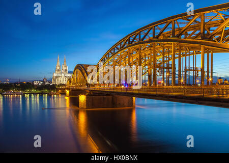 Cologne city skyline at night, Cologne, Germany - Stock Photo