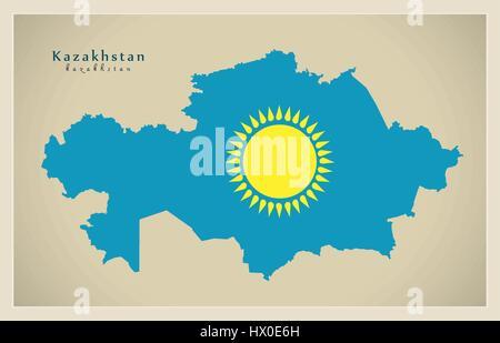 Modern Map - Kazakhstan flag colored KZ - Stock Photo
