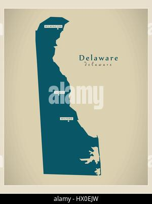 Modern Map - Delaware USA - Stock Photo