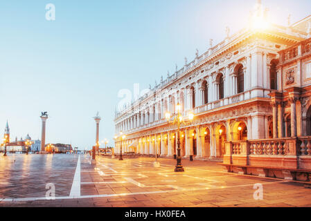 The night scene of San Marco square, Venice - Stock Photo