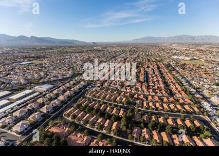 Aerial view of suburban neighborhood sprawl in Las Vegas, Nevada. - Stock Photo