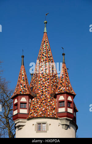 Colored roof on Diebsturm, Tower, Lindau, Lake Constance, Bavaria, Germany - Stock Photo