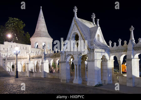 The ancient fisherman's bastion, in neogothic style, built on the top of a hill in Buda, now Unesco world heritage - Stock Photo