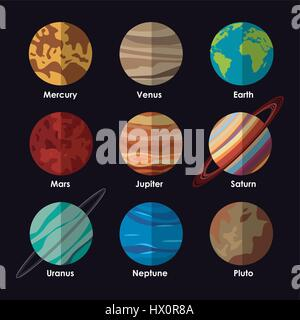 An illustration of the planets of our solar system with ...