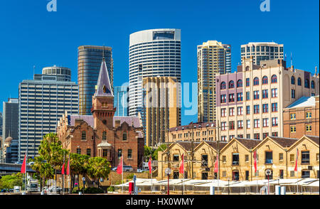 Old warehouses at Campbell's Cove Jetty in Sydney, Australia - Stock Photo