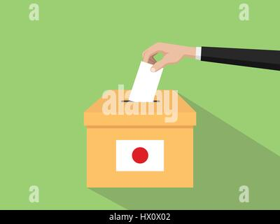 japan vote election concept illustration with people voter hand gives votes insert to boxes election with long shadow - Stock Photo