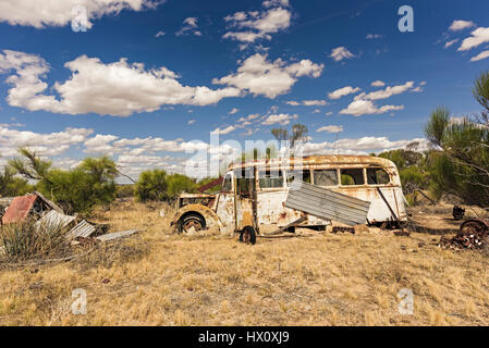 Old rusty school bus in outback, Wheatbelt, Western Australia, Australia - Stock Photo