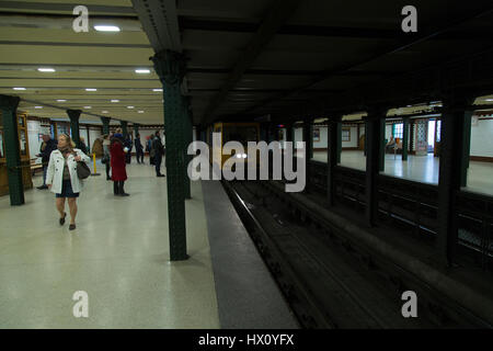 Line 1 metro station in Budapest Hungary - Stock Photo