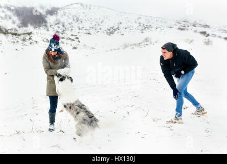 Young couple playing with their dog in the snow - Stock Photo