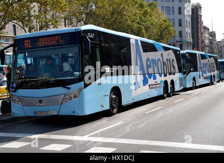 Aerobus airport transfer in central Barcelona - Stock Photo