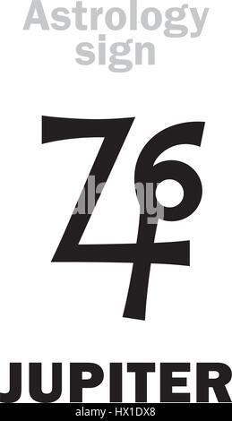 Astrology Alphabet Jupiter Zeus Classic Major Planet Stock