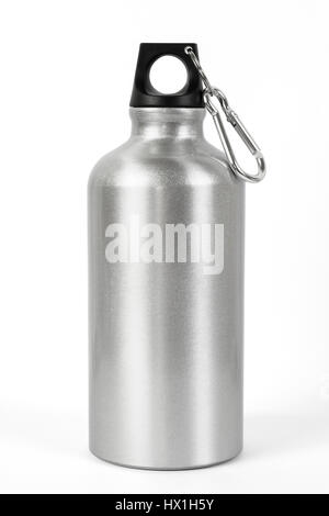 Metallic water bottle with a carabiner attached to the top. - Stock Photo