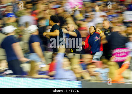 Protestor getting kicked out inside a President Donald J Trump Rally at Louisville Exposition Center on  March 20, - Stock Photo