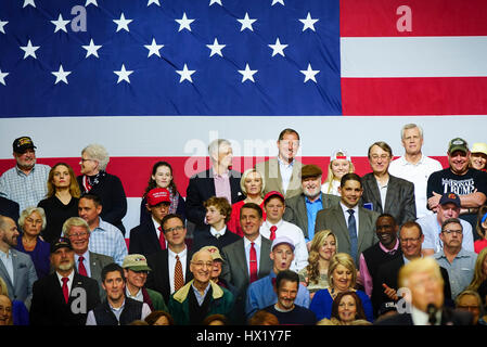 Attendees inside at President Donald J Trump Rally at Louisville Exposition Center on  March 20, 2017 in Louisville, - Stock Photo