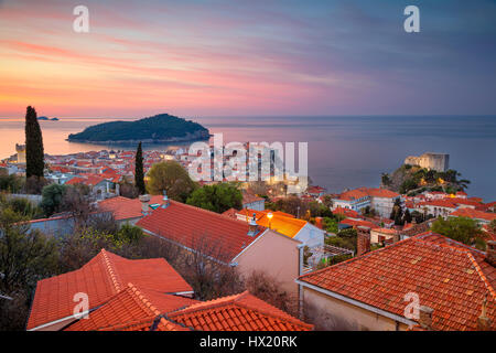 Dubrovnik, Croatia. Beautiful romantic old town of Dubrovnik during sunrise. - Stock Photo