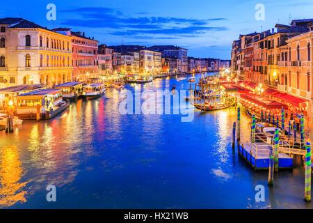 Venice, Italy. Grand Canal from Rialto bridge at twilight. - Stock Photo