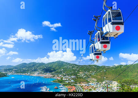 Caribbean, St. Thomas, USVI. Cable car at Heavensight in Charlotte Amelie. - Stock Photo