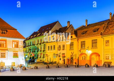 Sighisoara, Romania. Old town square at twilight.