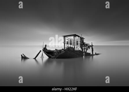 Ghost Ship Found At The Sea - Stock Photo