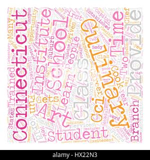 Arts Culinary School In Connecticut text background wordcloud concept - Stock Photo