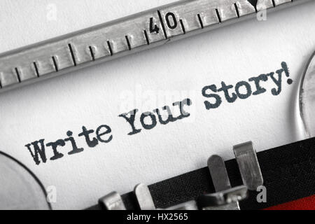 Write your story written on an old typewriter concept for unique, individual or personal life history message - Stock Photo