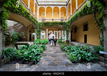 Patio of Palau del Lloctinent, courtyard with garden of converted 16th century palace in Barcelona, Catalonia, Spain, - Stock Photo