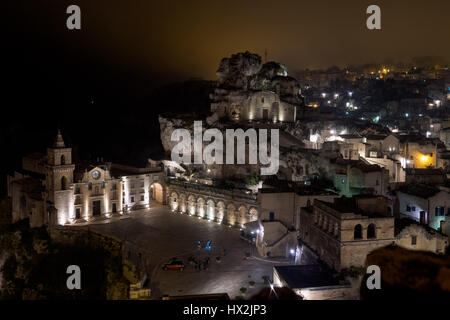 Panoramic view of the church in Matera European Capital of Culture 2019 - Stock Photo