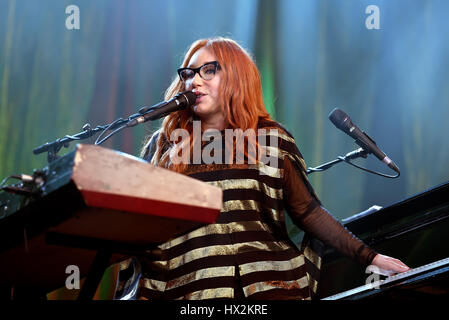 BARCELONA - MAY 30: Tori Amos (singer, songwriter, pianist and composer) performs at Primavera Sound 2015 Festival - Stock Photo