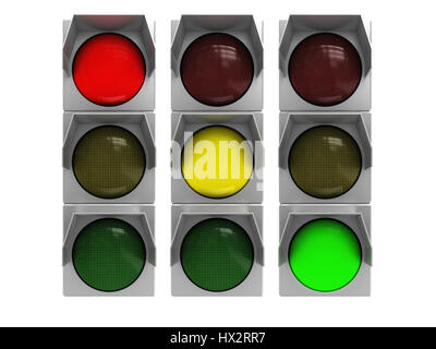 3d illustration of isolated traffic light with all colors - Stock Photo