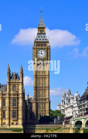 London, England, UK. Big Ben / the Elizabeth Tower. Seen from the South Bank of the Thames - Stock Photo