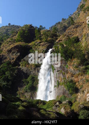 Waterfall in Syange, Annapurna Conservation Area, Nepal. - Stock Photo