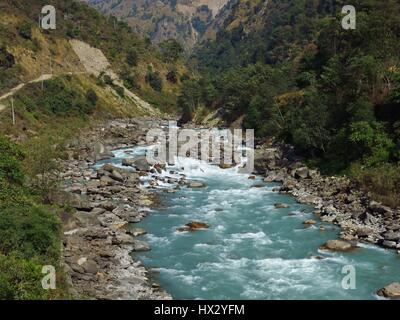 Marsyangdi river. Turquoise river in the Annapurna Conservation Area, Nepal. - Stock Photo