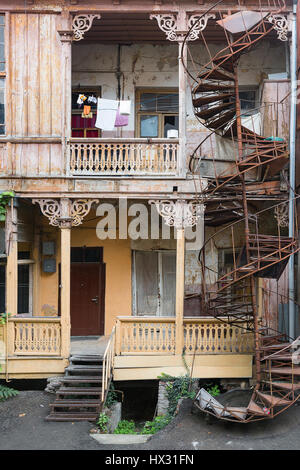 Old houses from the Soviet times in Tbilisi, Georgia - Stock Photo