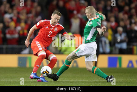 Wales' Chris Gunter and Republic of Ireland's James McClean during the 2018 FIFA World Cup Qualifying, Group D match - Stock Photo