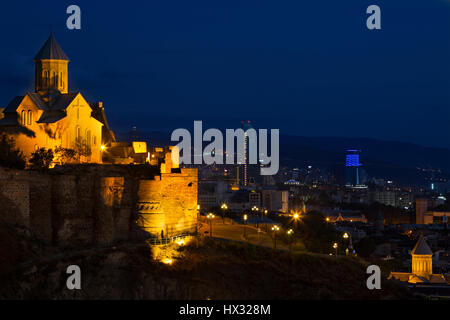 Narikala Castle in Tbilisi, Georgia, at night. - Stock Photo