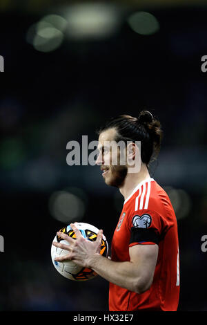 Wales' Gareth Bale during the 2018 FIFA World Cup Qualifying, Group D match at the Aviva Stadium, Dublin. - Stock Photo