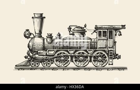 Vintage locomotive. Hand-drawn retro train. Sketch, vector illustration - Stock Photo