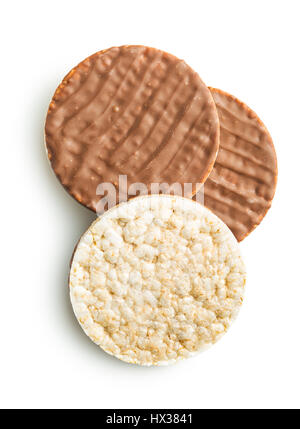 Puffed rice bread with chocolate isolated on white background. - Stock Photo
