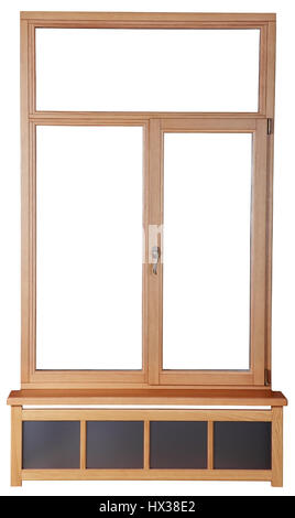 Wooden windows with double glazing made of timber. French windows with wooden frame of the timber. Isolated image - Stock Photo