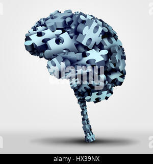 Brain puzzle concept and neurological or psychological health symbol as a neurology and psychology icon as a a group. - Stock Photo