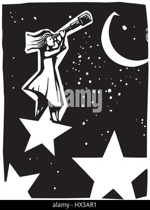 Woodcut style expressionist image of a woman standing on a star looking at the sky with a telescope. - Stock Photo