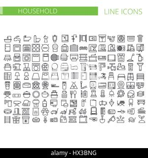 Household appliances line icons set. Vector illustration - Stock Photo