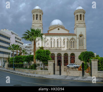 Beautiful church in the old town of Lemesos, Limassol, Cyprus.  A shot taken on a storymy afternoon in Spring. - Stock Photo