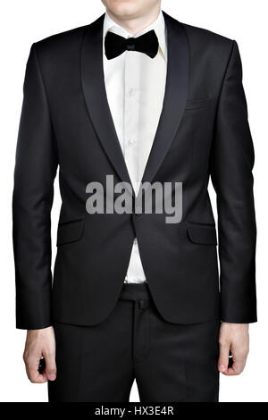 Dark gray evening dress for men; blazer; white shirt; bow tie; isolated over white background. - Stock Photo