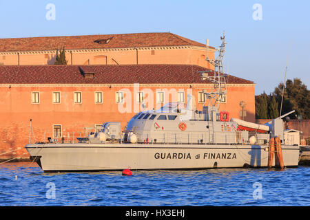 A patrol boat of the Guardia di Finanza (customs) moored at Giudecca Island in Venice, Italy - Stock Photo