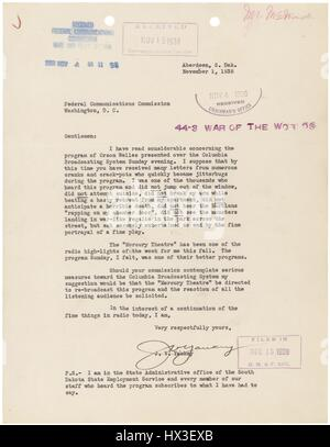 Letter from JV Yaukey from the Federal Communications Commission, Washington, District of Columbia regarding the - Stock Photo