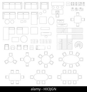 Furniture set icons for living room - Stock Photo