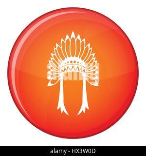 Indian headdress icon, flat style - Stock Photo
